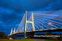65095-02819 Bill Emerson Memorial Bridge at dusk-night over Mississippi River Cape Girardeau  MO