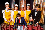 Cast members on stage at Annie Jr. The Musical in Siamsa Tire on Friday morning,<br /> Seated front Lorcan Ryan.<br /> Back l to r: Aoibhinn Broderick, Amy McCarthy, Emily Bola, Hannah Willoughby and John Feely.