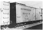 3/4 view of D&amp;RGW short reefer #64 in train at Durango.<br /> D&amp;RGW  Durango, CO  Taken by Maxwell, John W. - ca. 1949
