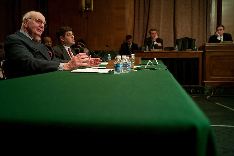 WASHINGTON, DC - Feb. 02: Paul Volcker, chairman of the President's Economic Recovery Advisory Board and Federal Reserve chairman, and Deputy Treasury Secretary Neal S. Wolin during the Senate Banking hearing on the president's proposal to impose restrictions on banks to control excessive risk taking. (Photo by Scott J. Ferrell/Congressional Quarterly)