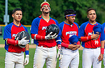 WATERBURY,  CT-072719JS21-- Members of the Cyclones Ponce (Puerto Rico) sing along with the Puerto Rican national anthem prior to their Mickey Mantle World Series game with the D-Bats (Dallas, Texas) Saturday at Municipal Stadium in Waterbury.  <br /> Jim Shannon Republican-American