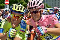 Picture by Pier Maulini/SWpix.com 27/05/2015 Cycling - Giro d'Italia - 27/05/2015 - Stage Seventeen - Tirano - Lugano ( Switzerland )<br /> copyright picture - Simon Wilkinson - simon@swpix.com<br /> Ivan Basso and Alberto Contador