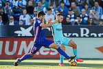 Jordi Alba Ramos of FC Barcelona (R) fights for the ball with Ezequiel Matias Munoz of CD Leganes (L) during the La Liga 2017-18 match between CD Leganes vs FC Barcelona at Estadio Municipal Butarque on November 18 2017 in Leganes, Spain. Photo by Diego Gonzalez / Power Sport Images