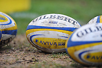 A general view of Aviva Premiership branded rugby balls. Aviva Premiership match, between Bath Rugby and Newcastle Falcons on February 8, 2014 at the Recreation Ground in Bath, England. Photo by: Patrick Khachfe / Onside Images