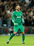 Tottenham's Hugo Lloris celebrates scoring his sides third goal during the champions league match at Wembley Stadium, London. Picture date 13th September 2017. Picture credit should read: David Klein/Sportimage