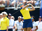 DES MOINES, IA - AUGUST 19: Europe's Jodi Ewart Shadoff watches her tee shot on the 1st hole of their afternoon four-ball match Saturday at the 2017 Solheim Cup in Des Moines, IA. (Photo by Dave Eggen/Inertia)