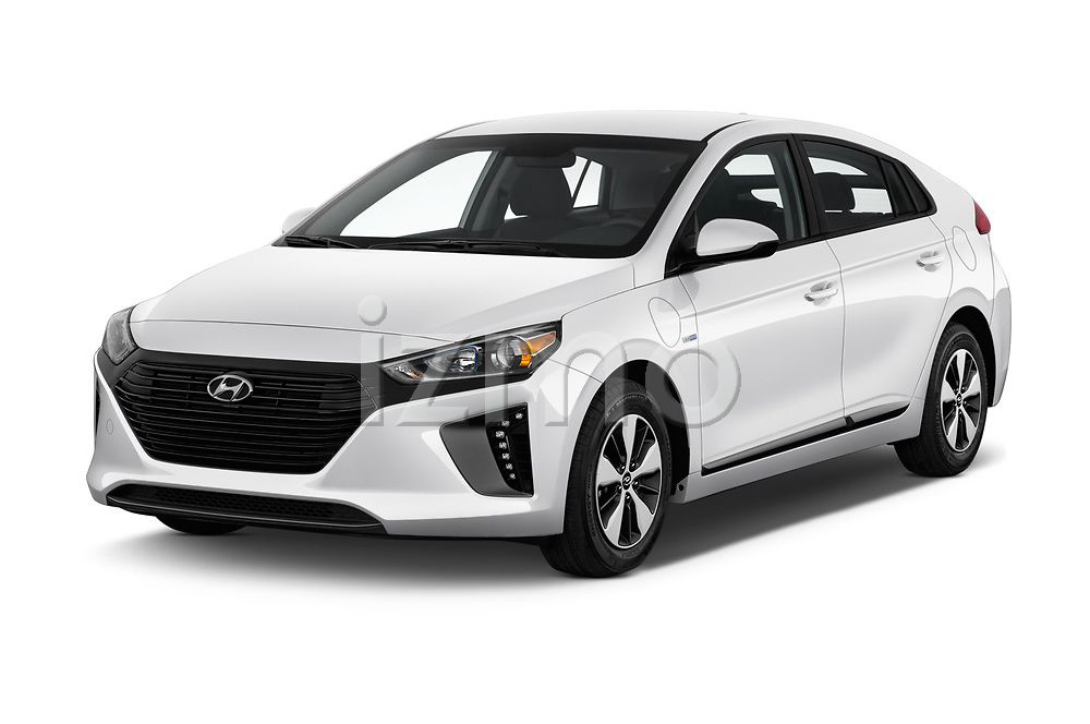 2019 Hyundai Ioniq Plug-In Hybrid Base 5 Door Hatchback angular front stock photos of front three quarter view