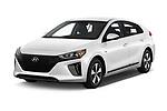 2018 Hyundai Ioniq Plug-In Hybrid Base 5 Door Hatchback angular front stock photos of front three quarter view