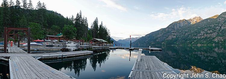Panorama of Stehekin Marina at Dawn, northend of Lake Chelan, North Cascades National Park, Washington State