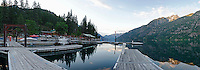 Panorama of Stehekin Marina at Dawn, northend of Lake Chelan, North Cascades National Park, Washington State