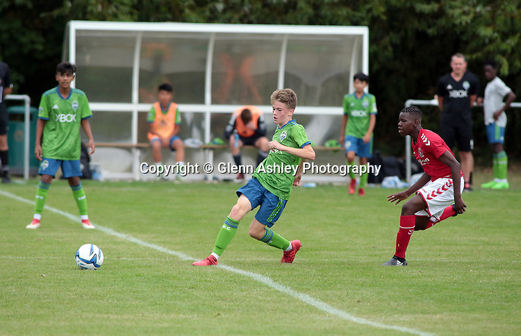 Seattle Sounders U-14's v Charlton Athletic U-14's at the 2018 Youdan Trophy, Sheffield, United Kingdom, 3rd August 2018. Photo by Glenn Ashley.