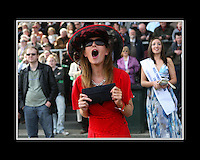 Maureen Catterson from Naas cheers on twist magic during the Kerrygold Championship Steeplechase at Irish Hunt Festival Punchestown, Kildare.