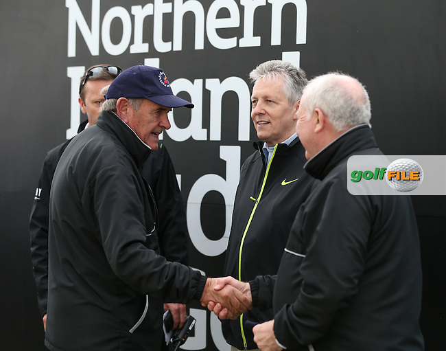 Everybody delighted to see the Forst Minister Peter Robinson arrive on the first tee for Round Three of the 2015 Dubai Duty Free Irish Open Hosted by The Rory Foundation at Royal County Down Golf Club, Newcastle County Down, Northern Ireland. 30/05/2015. Picture David Lloyd   www.golffile.ie