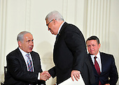 President Mahmoud Abbas of the Palestinian Authority, and Prime Minister Benjamin Netanyahu of Israel shake hands following remarks by Middle Eastern leaders in the East Room of the White House following their bi-lateral meetings  in Washington, D.C. on Wednesday, September 1, 2010.  The statements are in advance of the opening of the first direct talks in two years between Israel and the Palestinian Authority scheduled to begin at the State Department in Washington, D.C. tomorrow.  King Abdullah II of Jordan looks on from right..Credit: Ron Sachs / Pool via CNPUnited States President Barack Obama and Middle Eastern leaders make statements in the East Room of the White House following their bi-lateral meetings  in Washington, D.C. on Wednesday, September 1, 2010.  The statements are in advance of the opening of the first direct talks in two years between Israel and the Palestinian Authority scheduled to begin at the State Department in Washington, D.C. tomorrow.  From left to right: Prime Minister Benjamin Netanyahu of Israel, President Hosni Mubarak of Egypt, President Mahmoud Abbas of the Palestinian Authority, and King Abdullah II of Jordan..Credit: Ron Sachs / Pool via CNP.(RESTRICTION: NO New York or New Jersey Newspapers or newspapers within a 75 mile radius of New York City)