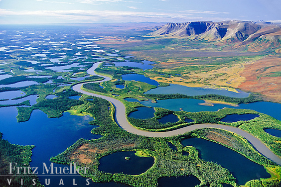 Mackenzie River delta and the Richardson Mountains, Northweste Territories