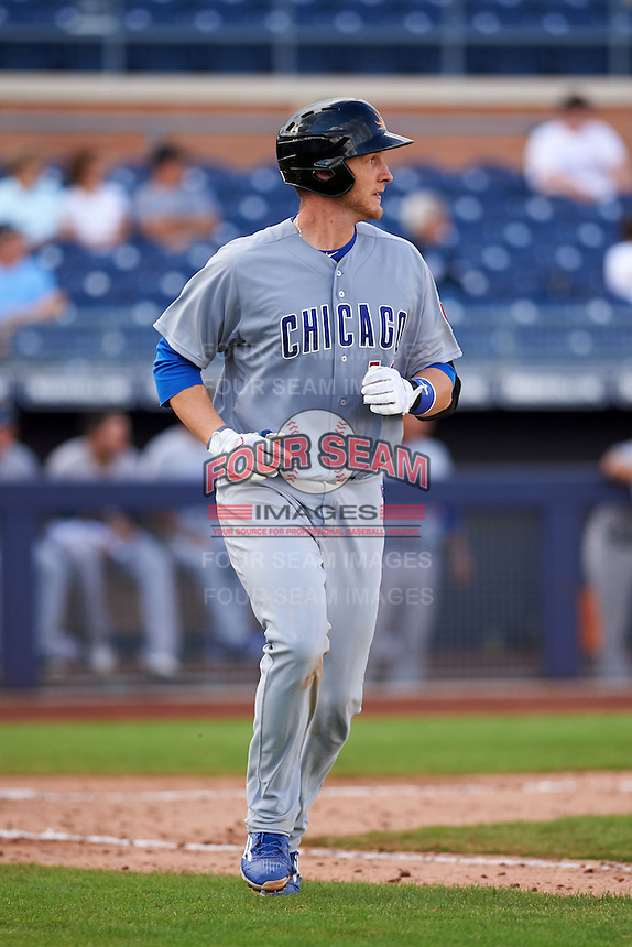 Mesa Solar Sox catcher Cael Brockmeyer (16) runs to first during an Arizona Fall League game against the Peoria Javelinas on October 21, 2015 at Peoria Stadium in Peoria, Arizona.  Peoria defeated Mesa 5-3.  (Mike Janes/Four Seam Images)