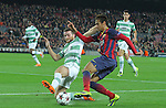 11.12.2013 Barcelona, Spain. UEFA Champions League, Group H Matchday 6. Picture show Pedro (R) and Adam Matthews (L)  in action during game between FC Barcelona Against Celtic at Camp Nou