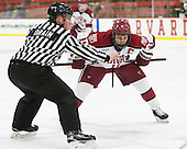 Stephen Drain, Kyle Criscuolo (Harvard - 11) - The Harvard University Crimson defeated the Brown University Bears 4-3 to sweep their first round match up in the ECAC playoffs on Saturday, March 7, 2015, at Bright-Landry Hockey Center in Cambridge, Massachusetts.