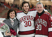 Raphael Girard (Harvard - 30) and parents - The Harvard University Crimson honored their seniors following their final home game of the regular season on Saturday, February 22, 2014 at the Bright-Landry Hockey Center in Cambridge, Massachusetts.
