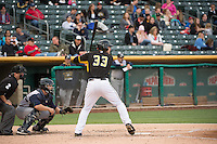 Roger Kieschnick (33) of the Salt Lake Bees at bat against the Colorado Springs Sky Sox in Pacific Coast League action at Smith's Ballpark on May 22, 2015 in Salt Lake City, Utah.  (Stephen Smith/Four Seam Images)