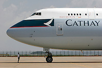 A Cathay Pacific 747 cargo plane being diagnosed before takeoff in Xiamen, China..