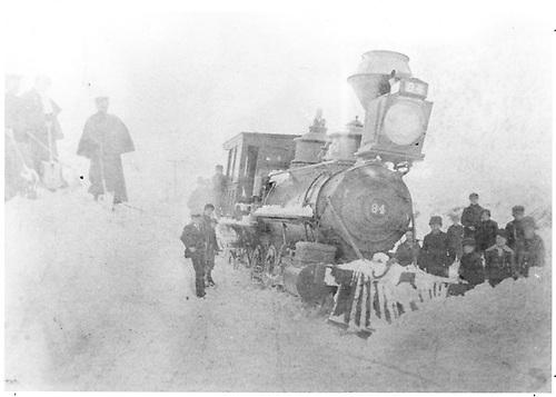 Enigne #84 in snow storm on a Thursday morning.<br /> D&amp;RG  Ocean Wave Mill, Lake City Branch, CO  Taken by Maurer, J. F. - 2/2/1889