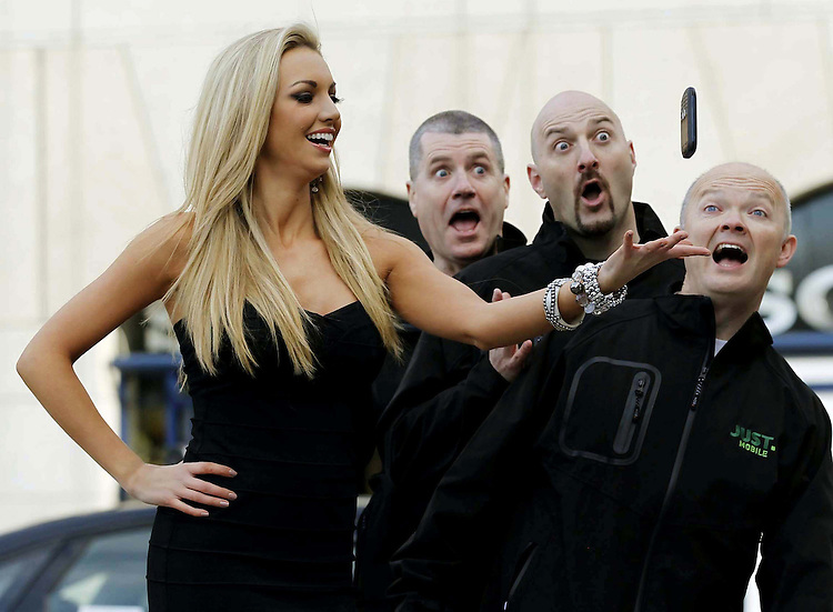 Just Mobile Launch..Model Rosanna Davison with Gerry Lawlor (left), Donal Lawless and Stuart Kelly of Just Mobile at the launch of the only Irish owned independent mobile network provider Just Mobile.