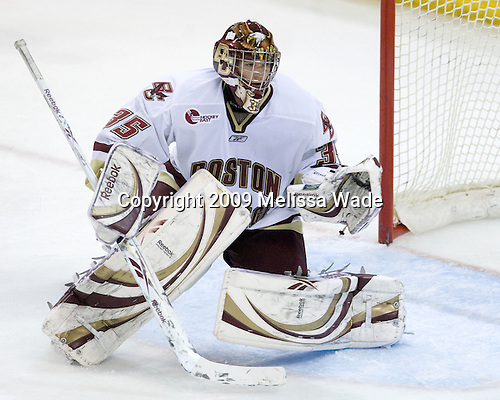 Parker Milner (BC - 35) - The Boston College Eagles defeated the Merrimack College Warriors 4-3 on Friday, October 30, 2009, at Conte Forum in Chestnut Hill, Massachusetts.