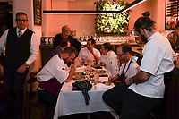 MELBOURNE, 30 June 2017 – Stuart Bell, Philippe Mouchel, Simon Consentino, Sasha Randle, Barry Davis and Joe Vargetto talk at their table during a dinner celebrating his 25 years in Australia with six chefs who worked with him in the past at Philippe Restaurant in Melbourne, Australia.