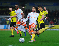 Blackpool's Nya Kirby vies for possession with Burton Albion's Colin Daniel<br /> <br /> Photographer Chris Vaughan/CameraSport<br /> <br /> The EFL Sky Bet League One - Burton Albion v Blackpool - Saturday 16th March 2019 - Pirelli Stadium - Burton upon Trent<br /> <br /> World Copyright &copy; 2019 CameraSport. All rights reserved. 43 Linden Ave. Countesthorpe. Leicester. England. LE8 5PG - Tel: +44 (0) 116 277 4147 - admin@camerasport.com - www.camerasport.com