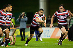 Sherwin Stowers heads for the tryline with Fritz Lee, August Pulu and Jono Owen in support. ITM Cup rugby game between Counties Manukau and Manawatu played at Bayer Growers Stadium on Saturday August 21st 2010..Counties Manukau won 35 - 14 after leading 14 - 7 at halftime.