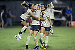 (L-R) Madison Hammond (99), Bayley Feist (9), and Peyton Perea (14) of the Wake Forest Demon Deacons celebrate their upset win over the South Carolina Gamecocks at Spry Soccer Stadium on August 24, 2017 in Winston-Salem, North Carolina.  The Demon Deacons defeated the Gamecocks 3-2.  (Brian Westerholt/Sports On Film)