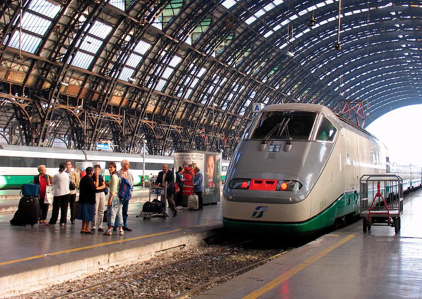 Eurostar bullet train leaving Centrale F.S. train station, Milan, Ital