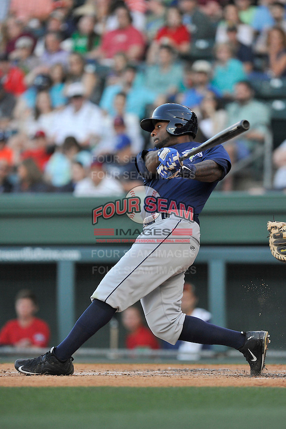 Center fielder Ivan Wilson (18) of the Columbia Fireflies bats in a game against the Greenville Drive on Saturday, April 23, 2016, at Fluor Field at the West End in Greenville, South Carolina. Columbia won, 7-3. (Tom Priddy/Four Seam Images)