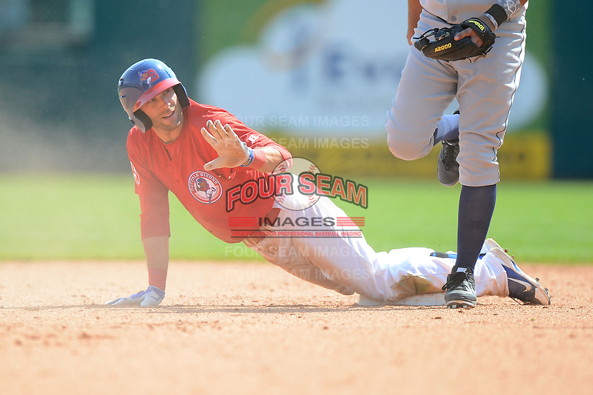 Buffalo Bisons second baseman Jim Negrych #5 calls for time after a stolen base during a game against the Charlotte Knights on May 19, 2013 at Coca-Cola Field in Buffalo, New York.  Buffalo defeated Charlotte 11-6.  (Mike Janes/Four Seam Images)
