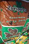 Pile of bags of Evergreen decorative chip bark