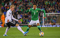 Jamal Lewis (Nordirland, Northern Ireland) zieht an Julian Brandt (Deutschland Germany) vorbei - 09.09.2019: Nordirland vs. Deutschland, Windsor Park Belfast, EM-Qualifikation DISCLAIMER: DFB regulations prohibit any use of photographs as image sequences and/or quasi-video.