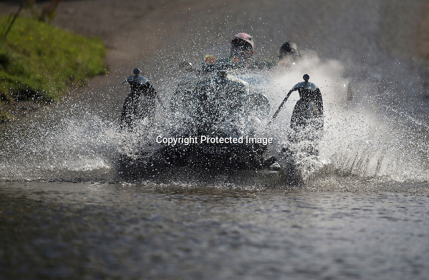 14/06/16<br /> <br /> Competitors in the Royal Automobile Club 1000 Mile Trial splash through Tissington Ford near Ashbourne in the Derbyshire Peak District. The rally saw 43 pre-war cars leave Edinburgh on Monday and finishes in Dorking, Surrey on Saturday.<br /> <br /> All Rights Reserved, F Stop Press Ltd.