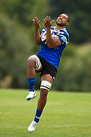 Taulupe Faletau of Bath Rugby catches the ball in the air. Bath Rugby pre-season training on August 8, 2018 at Farleigh House in Bath, England. Photo by: Patrick Khachfe / Onside Images