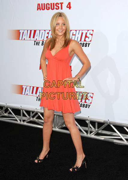 "AMANDA BYNES.World Premiere of ""Talladega Nights:The Ballad of Ricky Bobby"" held at The Grauman's Chinese Theatre in Hollywood, California, USA..July 26th, 2006.Ref: DVS.full length orange dress coral peach hands on hips.www.capitalpictures.com.sales@capitalpictures.com.©Debbie VanStory/Capital Pictures"