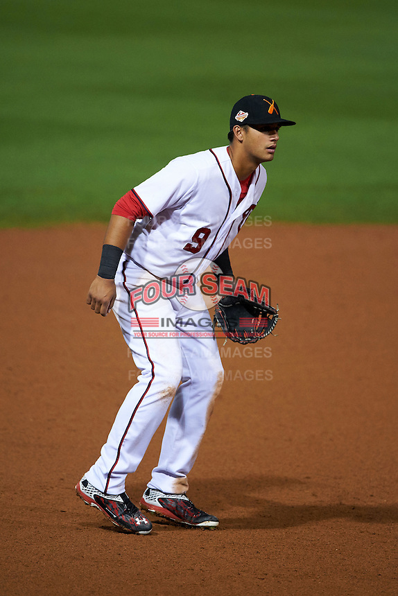 Salt River Rafters third baseman Drew Ward (9) during an Arizona Fall League game against the Glendale Desert Dogs on October 22, 2015 at Salt River Fields at Talking Stick in Scottsdale, Arizona.  Glendale defeated Salt River 7-5.  (Mike Janes/Four Seam Images)