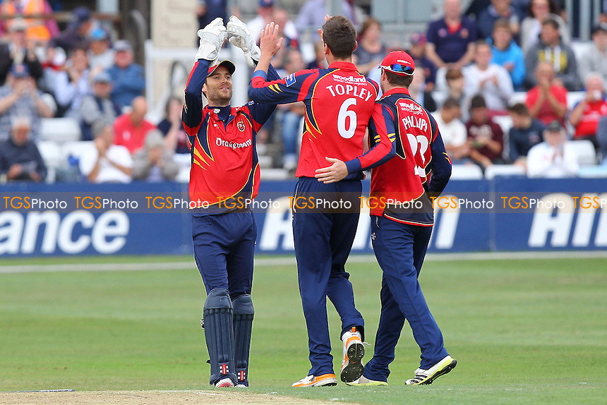 Reece Topley of Essex (C) is congratulated on the wicket of Ben Stokes - Essex Eagles vs Durham Dynamos - Yorkshire Bank YB40 Cricket at the Essex County Ground, Chelmsford - 13/08/13 - MANDATORY CREDIT: Gavin Ellis/TGSPHOTO - Self billing applies where appropriate - 0845 094 6026 - contact@tgsphoto.co.uk - NO UNPAID USE