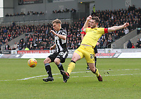 Gavin Reilly (20) gets to the ball before Craig Halkett in the St Mirren v Livingston Scottish Professional Football League Ladbrokes Championship match played at the Paisley 2021 Stadium, Paisley on 14.4.18.
