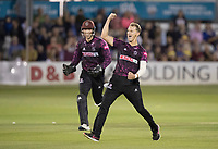 Max Waller of Somerset CCC celebrates wrapping up a comprehensive win for the visitors during Essex Eagles vs Somerset, Vitality Blast T20 Cricket at The Cloudfm County Ground on 7th August 2019