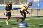 Getafe's Deyverson Da Silva (l) and Allan Nyom during training session. May 25,2020.(ALTERPHOTOS/Acero)