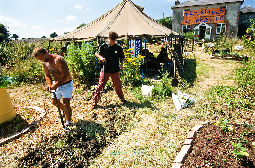 Demonstration against genetically modified  crops at Watlington, Oxfordshire.<br /> Protesters set up a  dig you own vegetable garden in an empty plot and house .<br /> One of the earliest examples of guerilla gardening