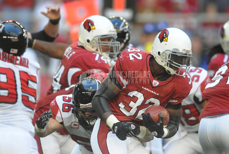 Dec. 23, 2007; Glendale, AZ, USA; Arizona Cardinals running back Edgerrin James (32) against the Atlanta Falcons at University of Phoenix Stadium. Mandatory Credit: Mark J. Rebilas-US PRESSWIRE