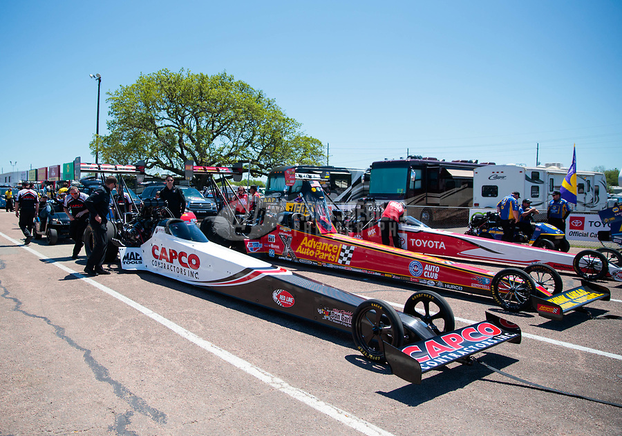 Apr 14, 2019; Baytown, TX, USA; The dragsters of NHRA top fuel drivers Steve Torrence , Brittany Force and Doug Kalitta in the staging lanes during the Springnationals at Houston Raceway Park. Mandatory Credit: Mark J. Rebilas-USA TODAY Sports