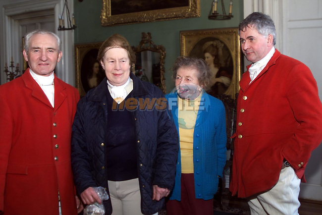 Huntsman Micheal McKeever, Mary Shirley, secretary of the hunt, Mrs Wadington, owner of Beaulie house and master of the hunt Colm Kelleher, taking part in the hunt at Beaulie house..pic: Newsfile