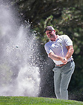 Trent Dilfer hits out of a sandtrap on 13th hole during the American Century Championship at Edgewood Tahoe Golf Course in Stateline, Nevada, Sunday, July 15, 2018.